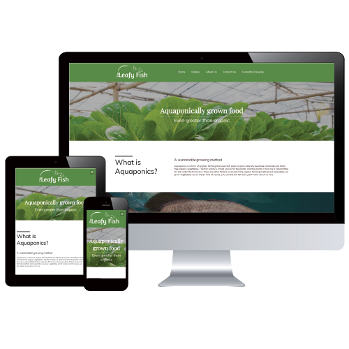 The Leafy Fish's website designed by Mainsail Studio using a custom WordPress theme in a frame of 3 different responsive devices